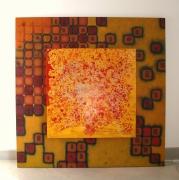 deco design abstrait tableau lumineux oeuvre originale creation originale decoration : CRAQUELURE