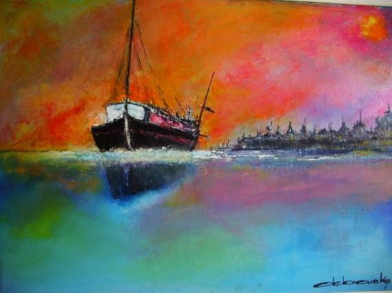 TABLEAU PEINTURE contemporain Marine Peinture a l'huile  - rose marine