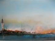 tableau marine paysage contemporain : Calais le phare