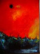 tableau paysages contemporain : soleil noir