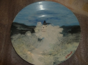 ceramique verre paysages mer phare : Ecume en mer