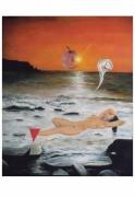 tableau personnages soleil femme mer nu : Coucher de soleil