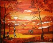 tableau : paysage d'afrique II
