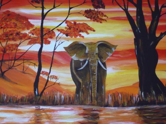 TABLEAU PEINTURE  - elephant d'afrique