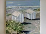 tableau marine cabane sable mer ete : LA POINTE AUX OIES