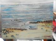 tableau marine barque mer bleu calme : LA BARQUE BLEU
