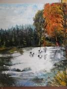 tableau paysages canard chasse marais foret : LES TROIS MORILLONS