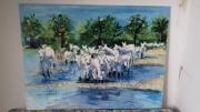 tableau animaux chevaux paysage : LES CHEVAUX