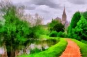 tableau paysages photo peinture paysage eglise : CLOCHER BRETON 1