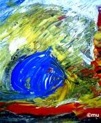 mixte paysages soleil numerique poster : Soleil bleu
