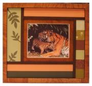 tableau animaux tableau exposition animaux sauvage : maman et bébé tigres