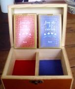 bois marqueterie autres carte belote cuir : range carte