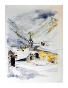 tableau paysages village hiver neige : en hiver1
