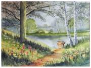 tableau paysages foret barque arbre mare : barque