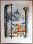 tableau paysages grille montagne porche : grille