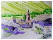 tableau paysages village maison : village de France