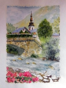 tableau paysages pont village : pont