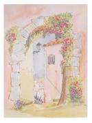 tableau paysages village provence porche : le porche