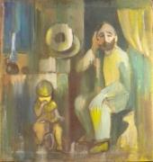 tableau personnages le pere et le fils 1979 grigor nalband : Le père et le fils