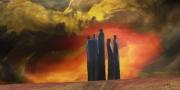 art numerique autres arbre orange feu : Arbres en proie au feu