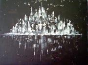 tableau abstrait : nuit d'hiver