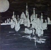 tableau abstrait : Soir de Lune