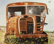 tableau autres rouille cedrini longwy est : Vieux camion de Longwy