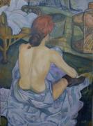 tableau personnages toilette prostituee maison close nue : Rousse (la Toilette)
