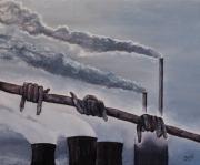 tableau paysages nucleaire hypocrisie fin du monde pollution : Barbelés pour le Futur