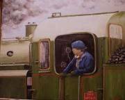 tableau scene de genre sncf vapeur locomotive train : Carré fermé ligne Bastille