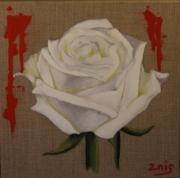 tableau fleurs fleur rose sang rose blanche : Pureté malmenée