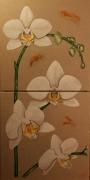 tableau fleurs fleurs mystere muse orchidees : Diptyque Orchidées