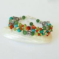 Bracelet tressé pierres cornaline, aventurine, péridot, turquois