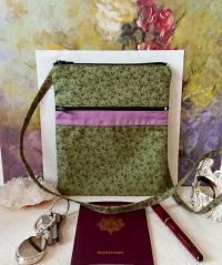 Petit sac bandoulière double ouverture, tissu coton floral et un