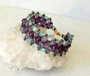 tableau : Bracelet tissé pierre d'améthyste et cristal de Swarovski