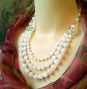 bijoux collier cristal cristal de roche collier multi rangs ann creation : Collier 3 rangs Cristal de Roche craquelé / Plaqué Argent et Arg