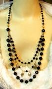 bijoux collier sautoir onyx noire pierre onyx ann creation : Collier Sautoir Onyx Noire
