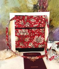 Petit sac bandoulière double ouverture, tissu coton fleuri rouge