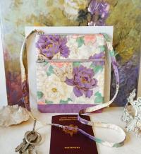 Petit sac bandoulière double ouverture, tissu coton japonais flo