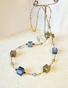 bijoux collier murano bleu collier cubes murano murano authentique cubes murano necklac : Long collier cubes murano authentique feuille d'or et argen