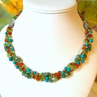 Collier pierres multicolore