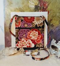 Petit sac bandoulière double ouverture tissu coton japonais roug