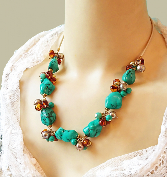 BIJOUX collier turquoise am collier grappe pierr collier pierre de tu turquoise et ambre d  - Collier grappe pierre de turquoise et ambre Baltique