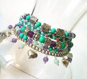bijoux bracelet amethyste ,t bracelet pierres mul bracelet pierres vio : Bracelet muti rangs pierre de turquoise et améthyste