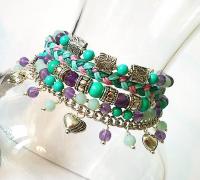 Bracelet muti rangs pierre de turquoise et améthyste