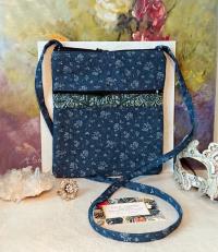 Petit sac bandoulière double ouverture, tissu coton denim bleu f