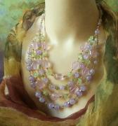 bijoux collier pierres quartz rose prehnite ann creation : Collier 4 rangs, Pierres pastelles rose, vert, parme