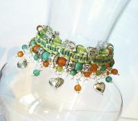 Bracelet multirangs Pierre de Cornaline et Turquoise