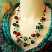 bijoux collier murano collier 2 rangs murano authentique ann creation : Collier 2 rangs Verre de Murano authentique Rouge et Vert