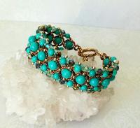 Bracelet tissé Pierre de Turquoise et Cristal de Swarovski
